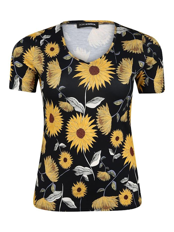 Doris Streich T-Shirt mit Allover-Print ., marine