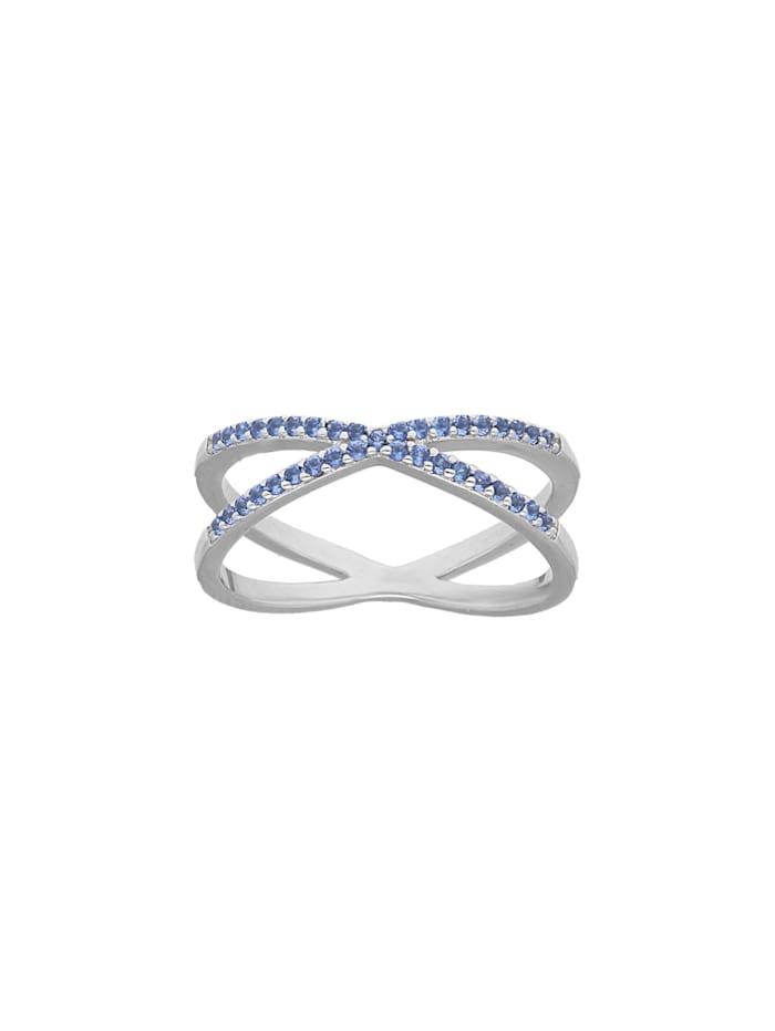 Giorgio Martello Ring Kristall Steine, Blau