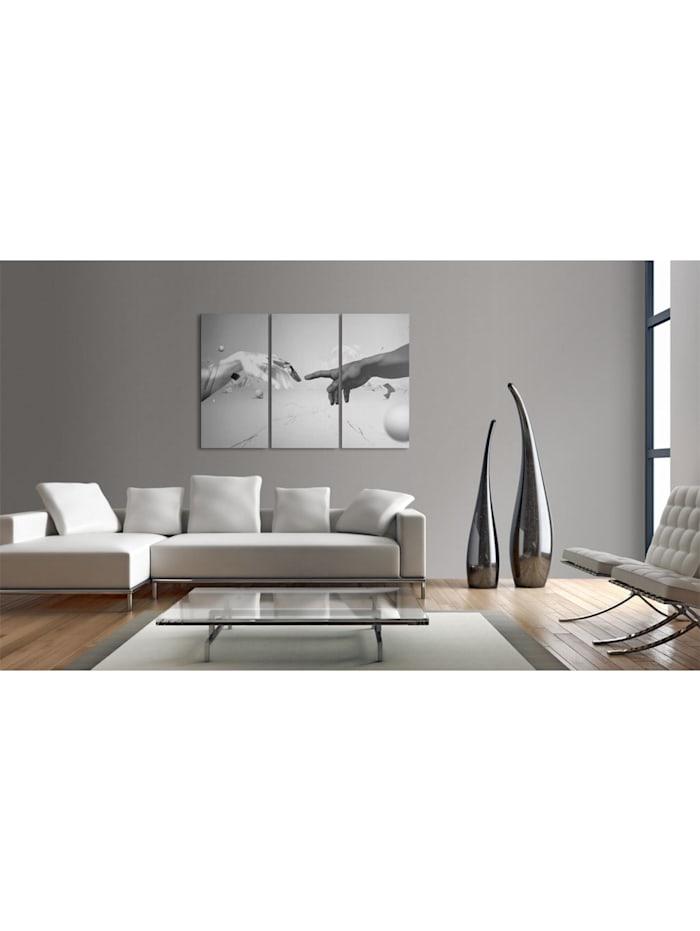 Wandbild Berührung in schwarz-weiß