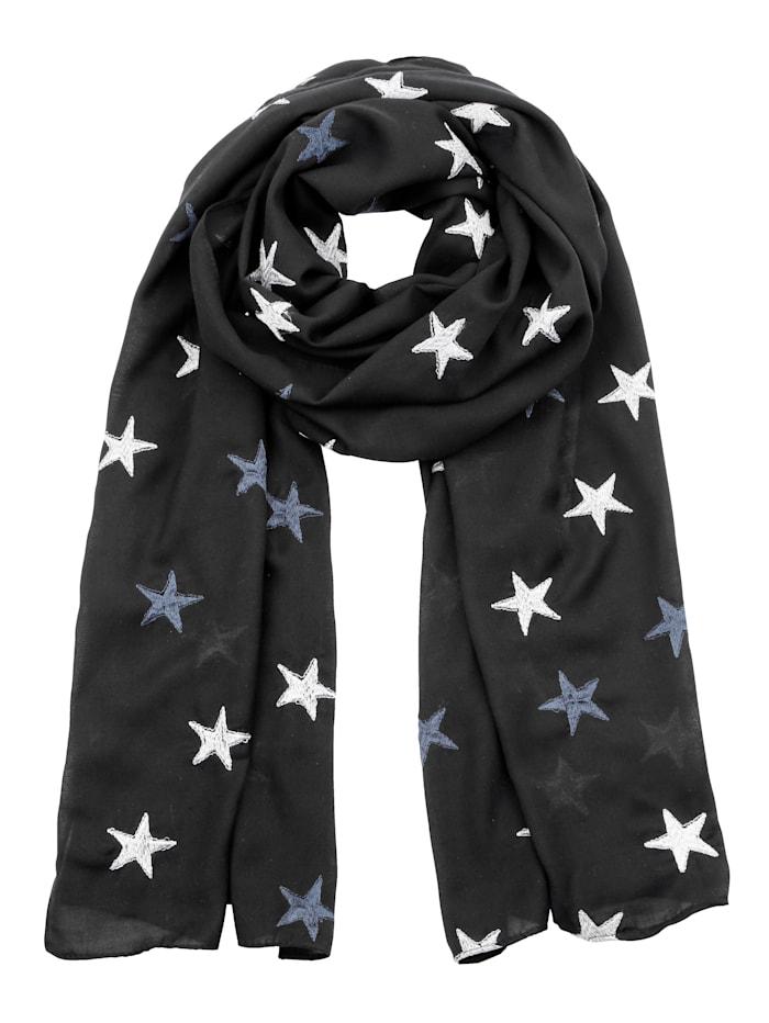 MIAMODA Tuch mit Sternenmotiven bestickt, marineblau