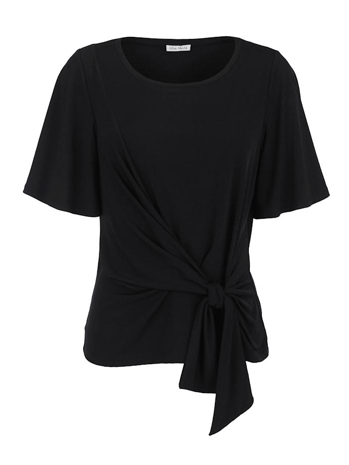 Alba Moda Shirt mit Knotendetail, Schwarz