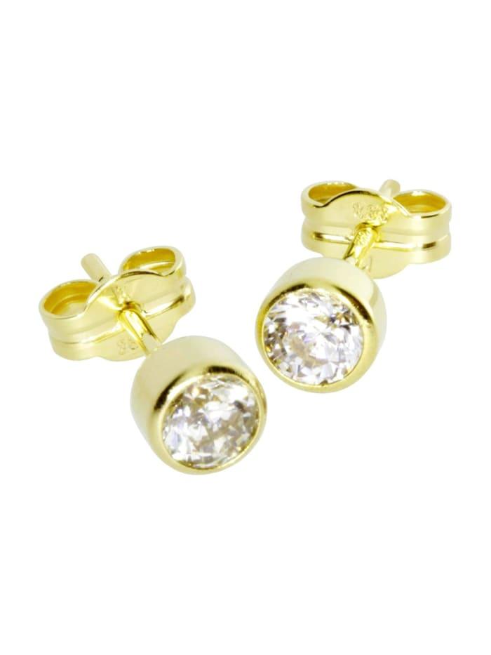 OSTSEE-SCHMUCK Ohrstecker - Anna 4 mm - Gold 333/000 - Zirkonia, gold