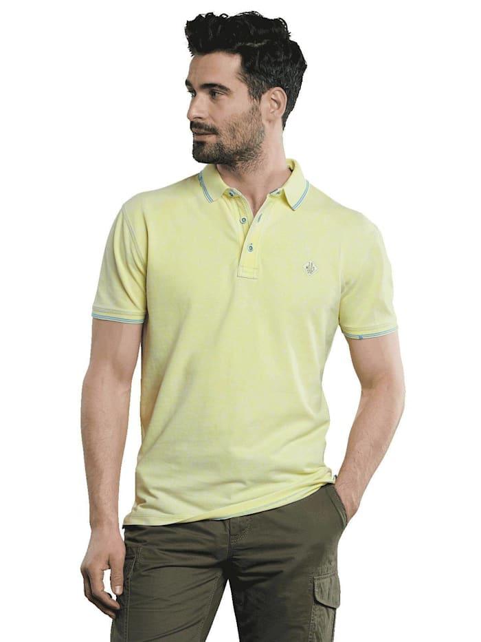 Engbers Poloshirt mit Kontrastdetails, Zitronengelb