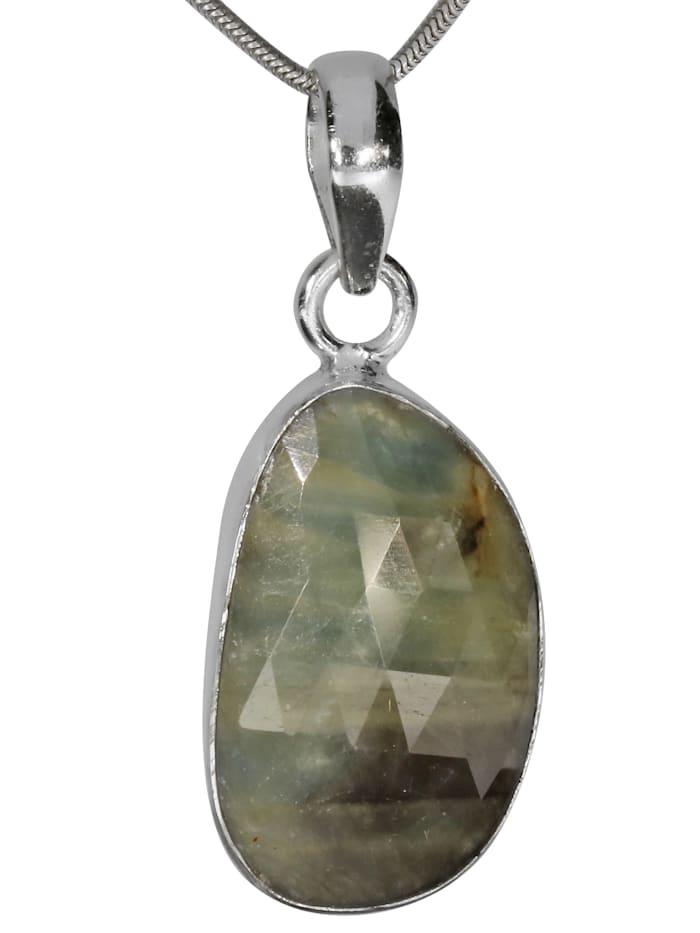 1001 Diamonds Labradorit Anhänger 925 Silber, grau