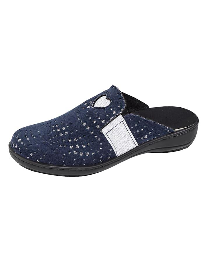 Algemare Pantoffel met elastische inzetten, Donkerblauw