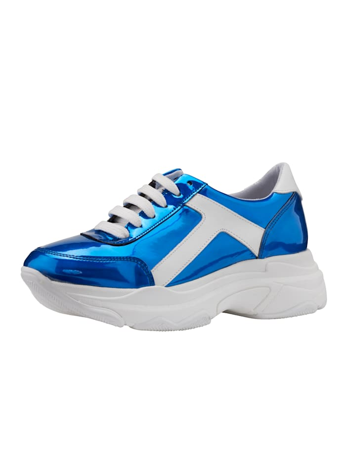 Plateausneaker in aufregendem Metallic-Look, Royalblau/Weiß