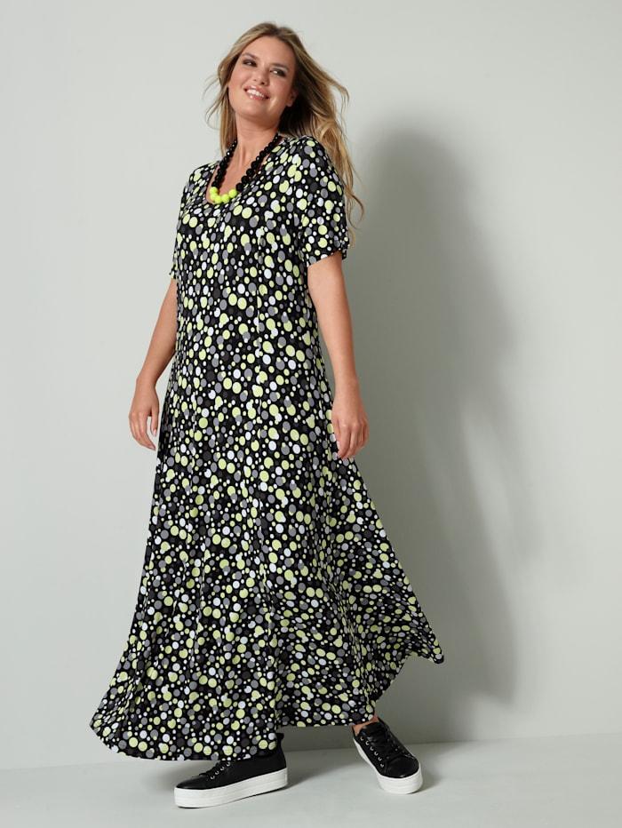 Janet & Joyce Jersey jurk in licht uitlopend model, Limoengroen/Zwart