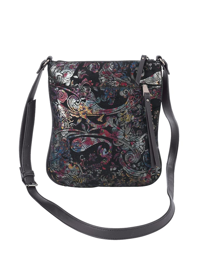 Ara Sac à bandoulière à joli motif ornemental, Noir/multicolore