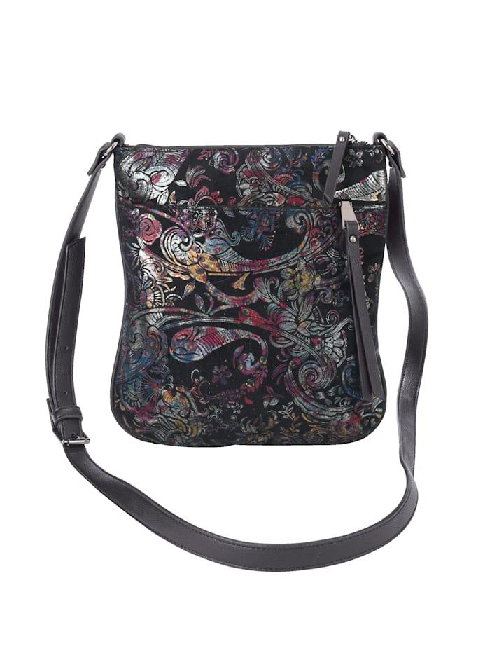 Ara Shoulder bag in an ornamental design, Black/Multi