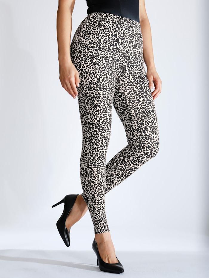 m. collection Legging met elastische band rondom, beige/zwart leo