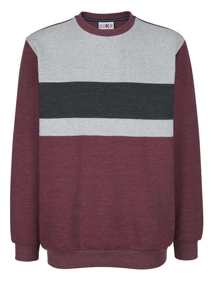 Roger Kent Sweatshirt met contrastkleurige inzetten, Bordeaux/Grijs