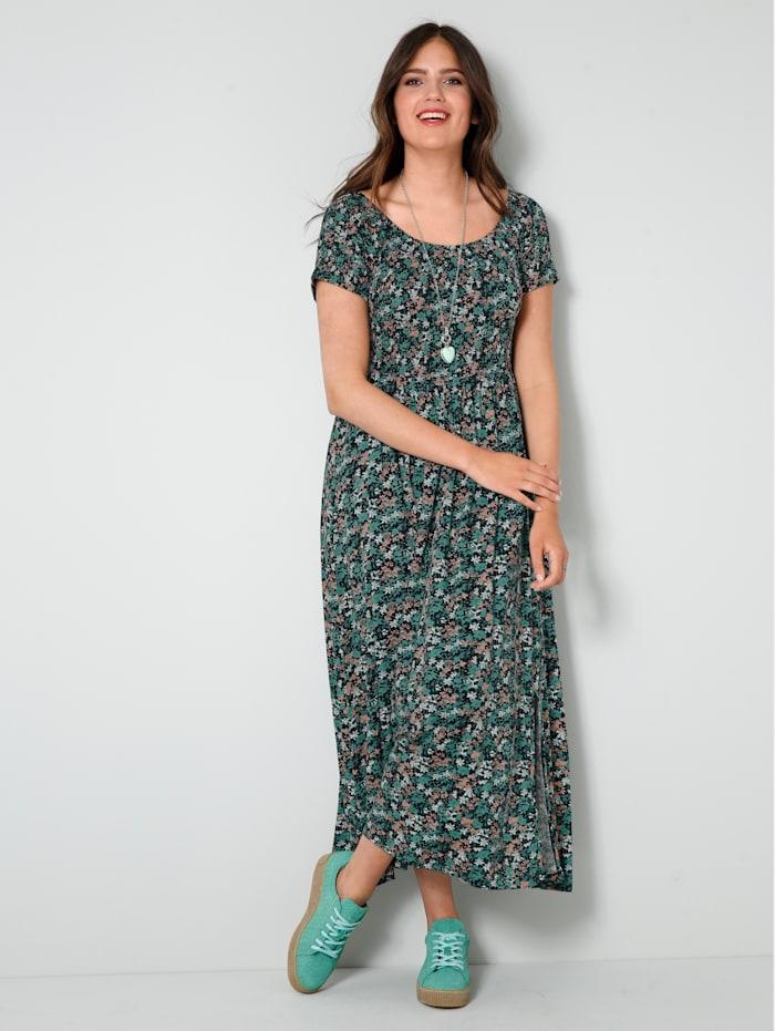 Janet & Joyce Jersey-Kleid mit gesmoktem, elastischem Oberteil, Schwarz/Salbeigrün