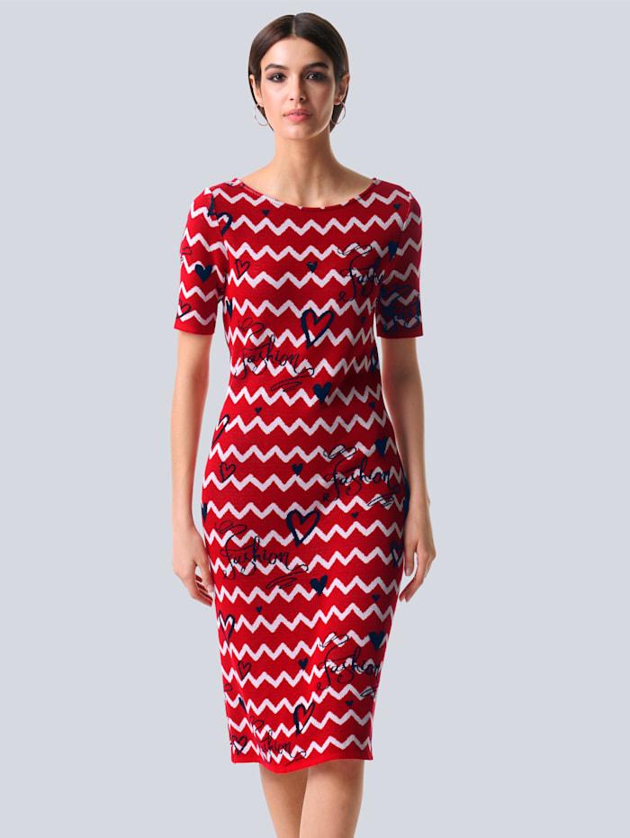 Alba Moda Kleid mit Zick-Zack-Muster, Rot/Marineblau/Off-white