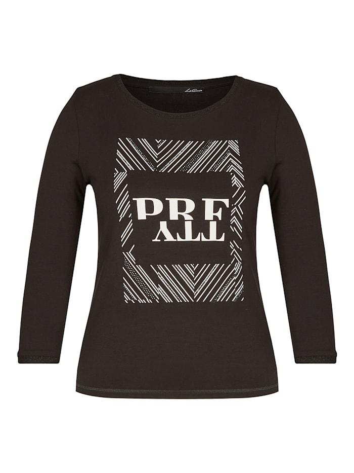 Le Comte Shirt mit Front-Druck und Ziersteinchen, BLACK