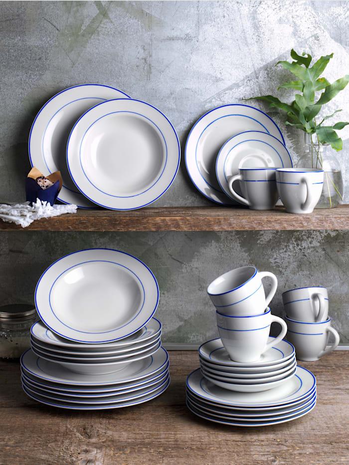 Van Well Middagsservise i 12 deler -Blue Line-, hvit/blå