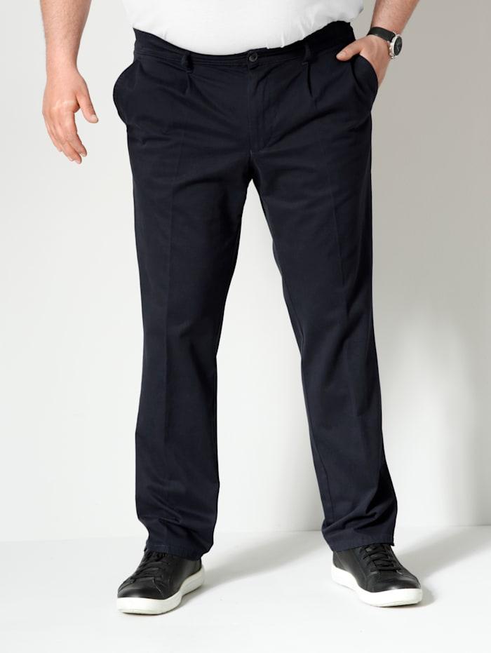 Men Plus Bundfaltenhose Straight-Fit, Marineblau