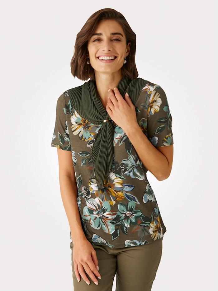 MONA Shirt met plissésjaal, Olijf