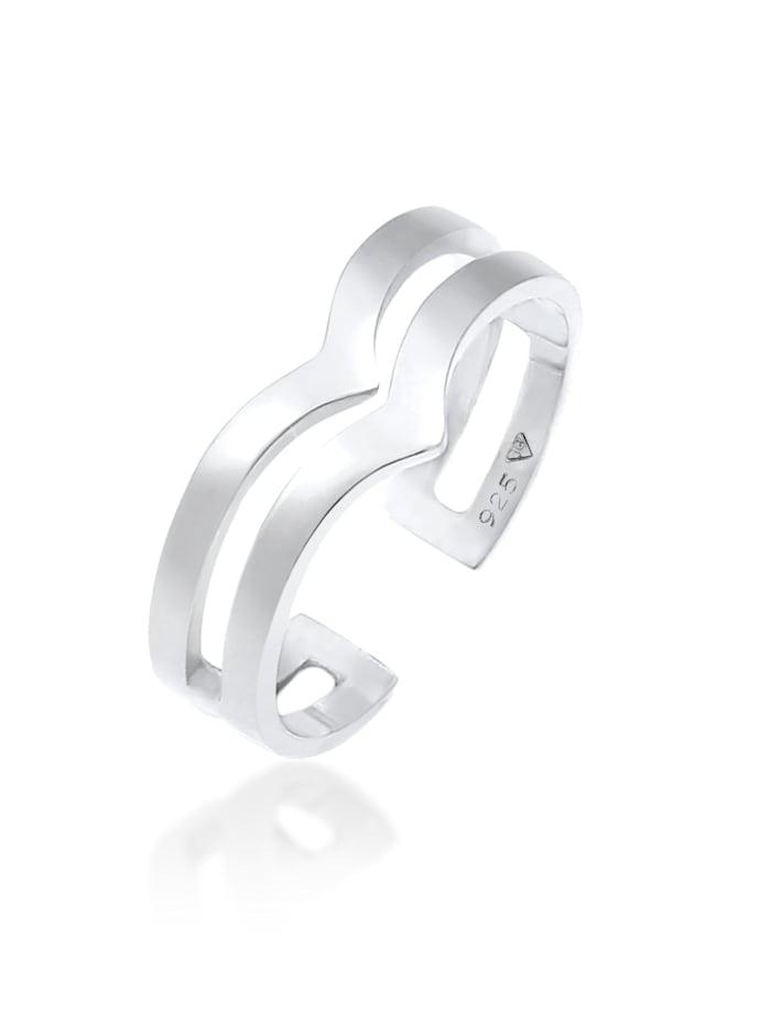 Elli Ring V-Form Geo Winkel Basic Glanz 925 Silber, Silber