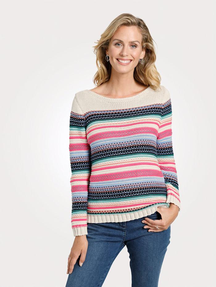 MONA Pullover mit Strukturstrick, Beige/Pink/Marineblau