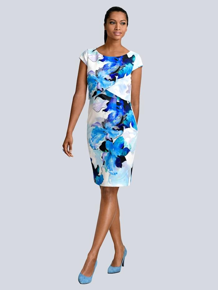 Alba Moda Jurk met bloemenprint, Blauw/Zwart/Offwhite