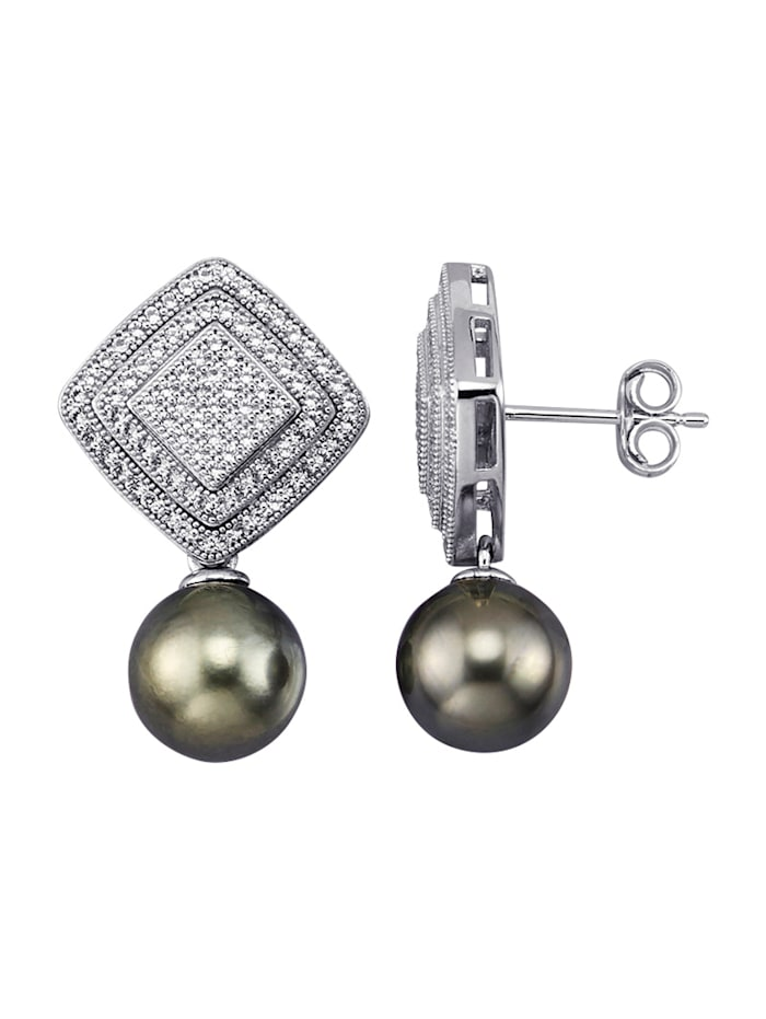 Amara Perles Boucles d'oreilles avec perles de culture de Tahiti et topazes blanches, Gris