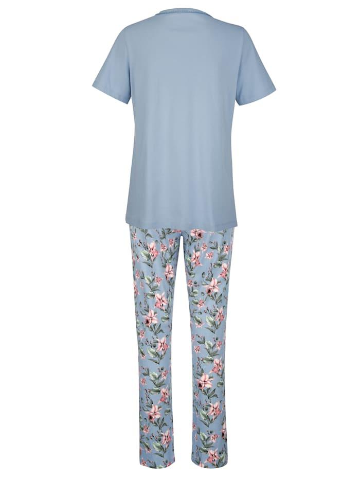 Schlafanzug mit dekorativer Zackenlitze