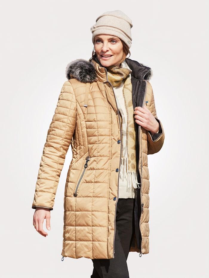MONA Gewatteerde jas met afritsbare capuchon, Beige