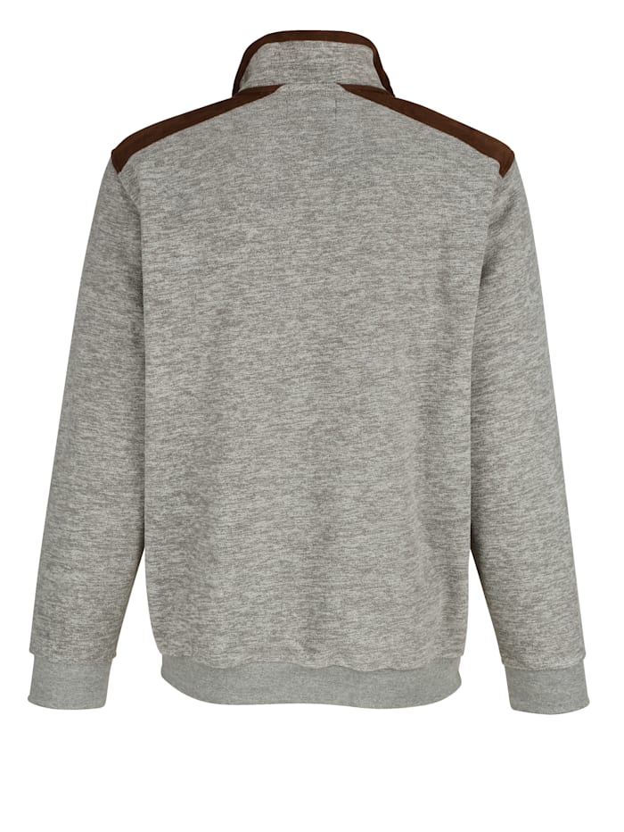 Fleece trui met beleg in velourslook