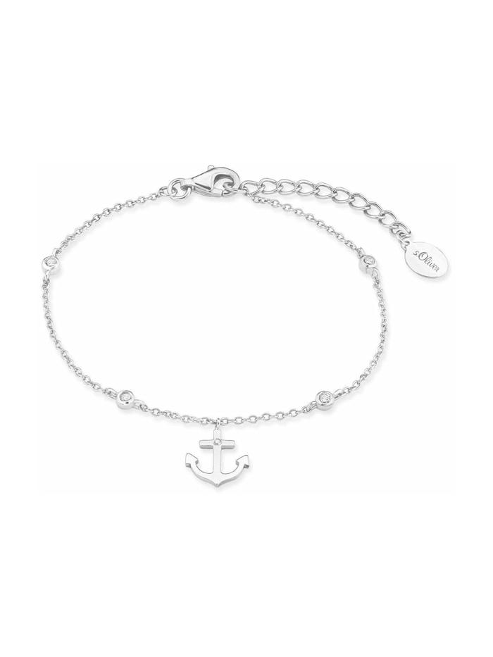 s.Oliver Armband für Damen, Sterling Silber 925, Zirkonia Anker, Silber