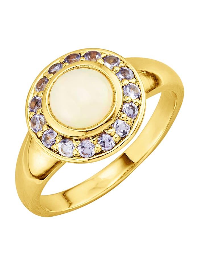 Bague avec opale et tansanites, Blanc