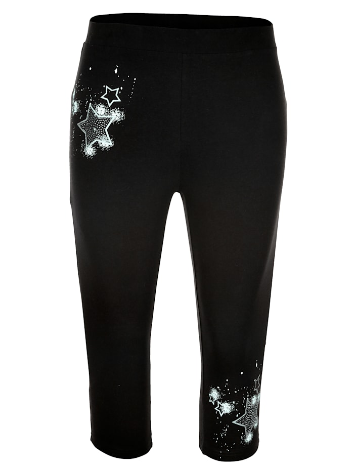 MIAMODA Capri kalhoty v elastické žerzejové kvalitě, Černá