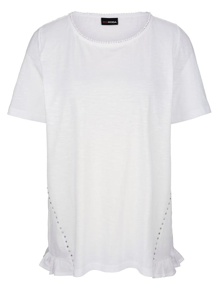 MIAMODA T-shirt avec pierres fantaisie, Blanc