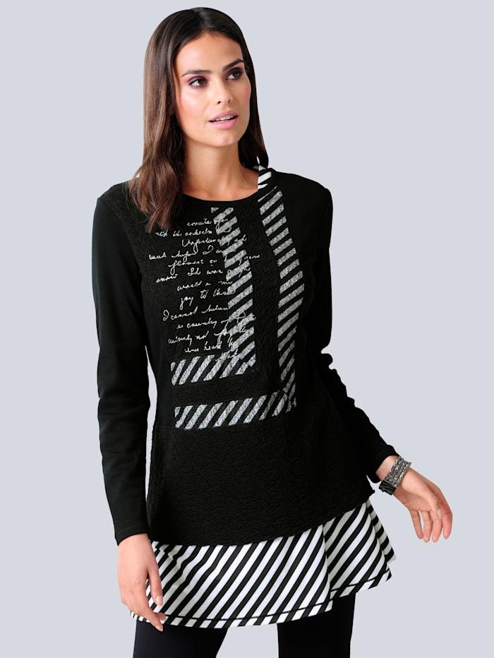 Alba Moda Longshirt im modischen Mustermix, Schwarz/Weiß