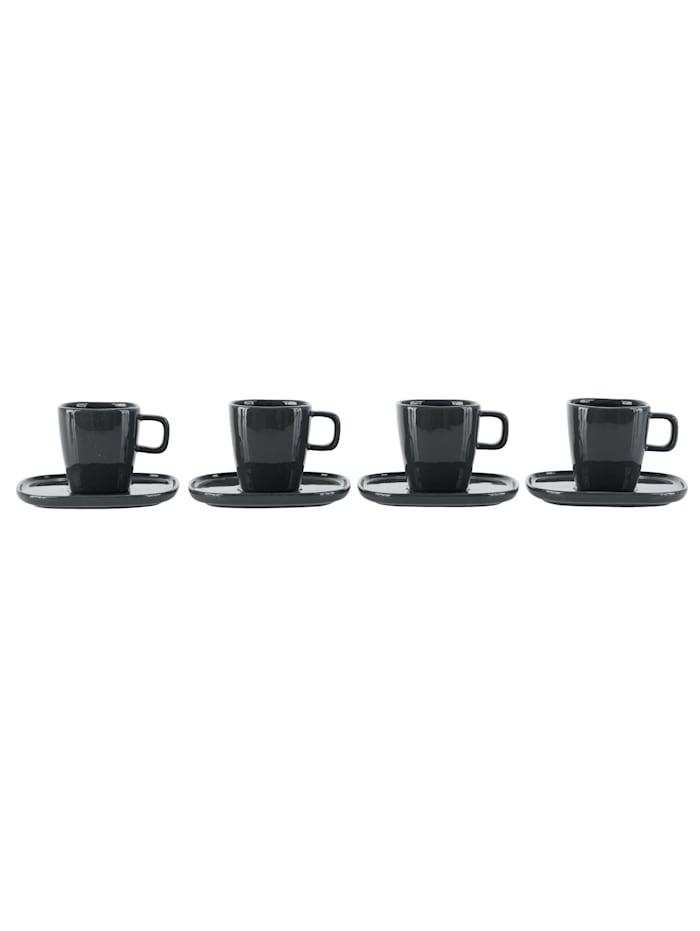 IMPRESSIONEN living Espressotassen mit Untertassen, 8-tlg., grau
