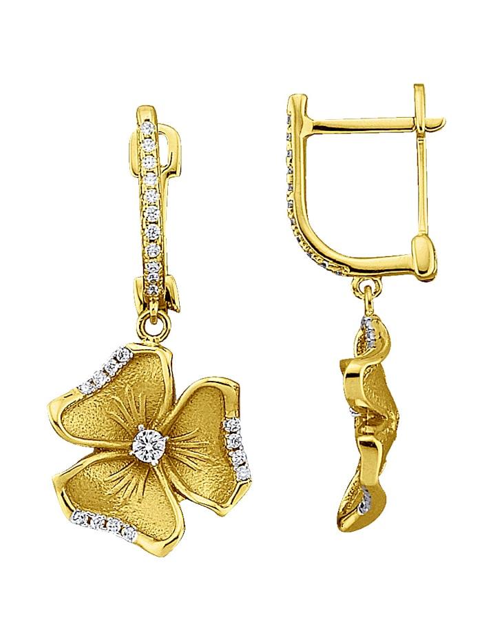 Boucles d'oreilles Fleurs en or jaune 375