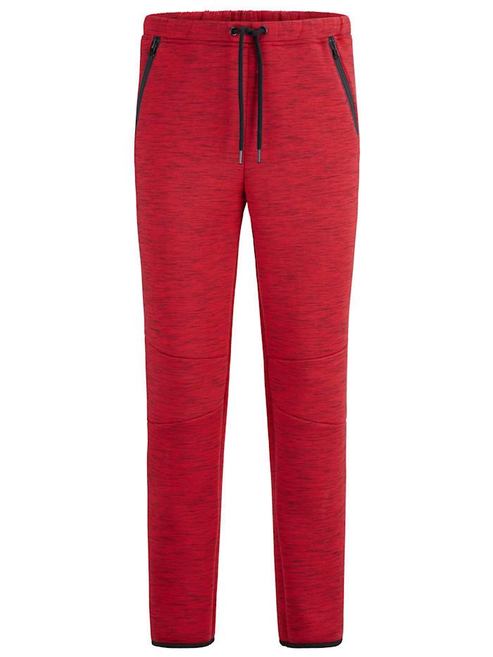Men Plus Pantalon de jogging en matière chinée, Rouge/Noir