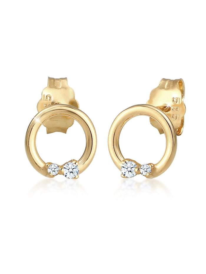 DIAMORE Ohrringe Kreis Geo Diamanten (0.04 Ct.) Edel 585Er Gelbgold, Gold