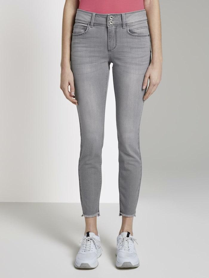 Tom Tailor Alexa Skinny Jeans mit Fransen, clean light stone grey denim