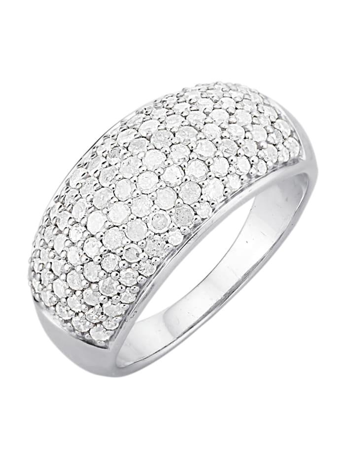 Gemondo Damenring mit Diamanten, Silberfarben