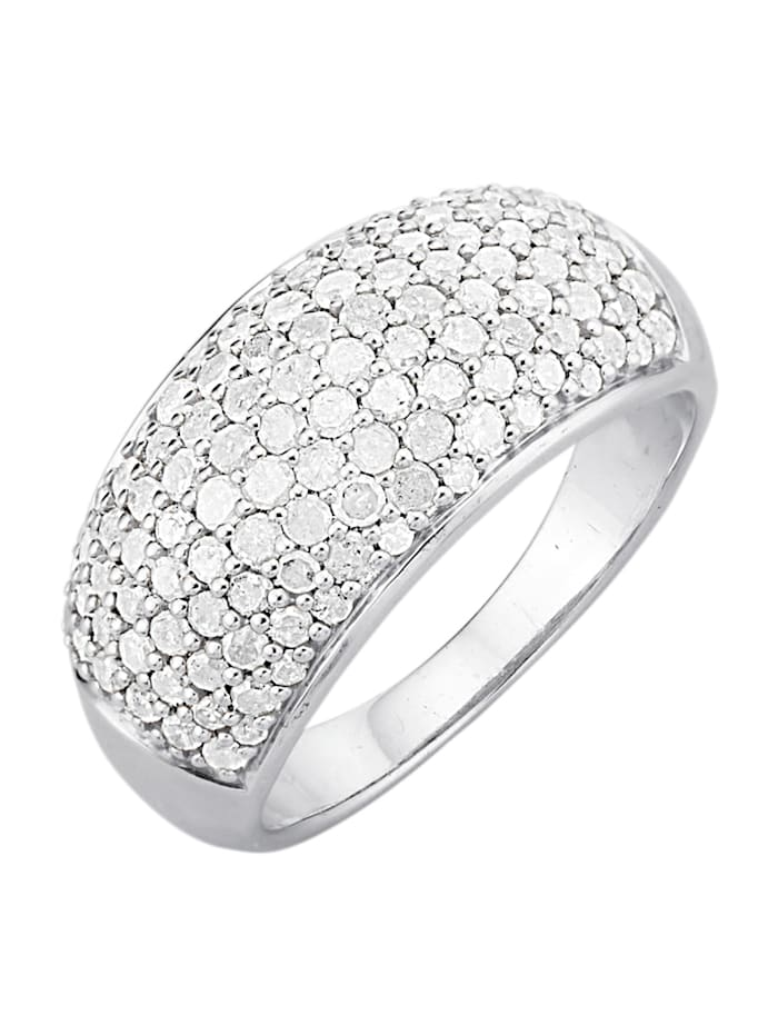 Gemondo Damesring met diamanten, Zilverkleur