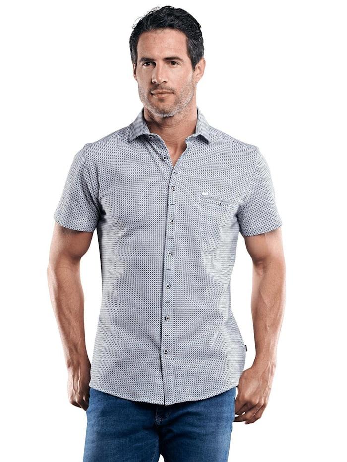 Engbers Baumwollhemd mit Minimal-Druck, Enzianblau