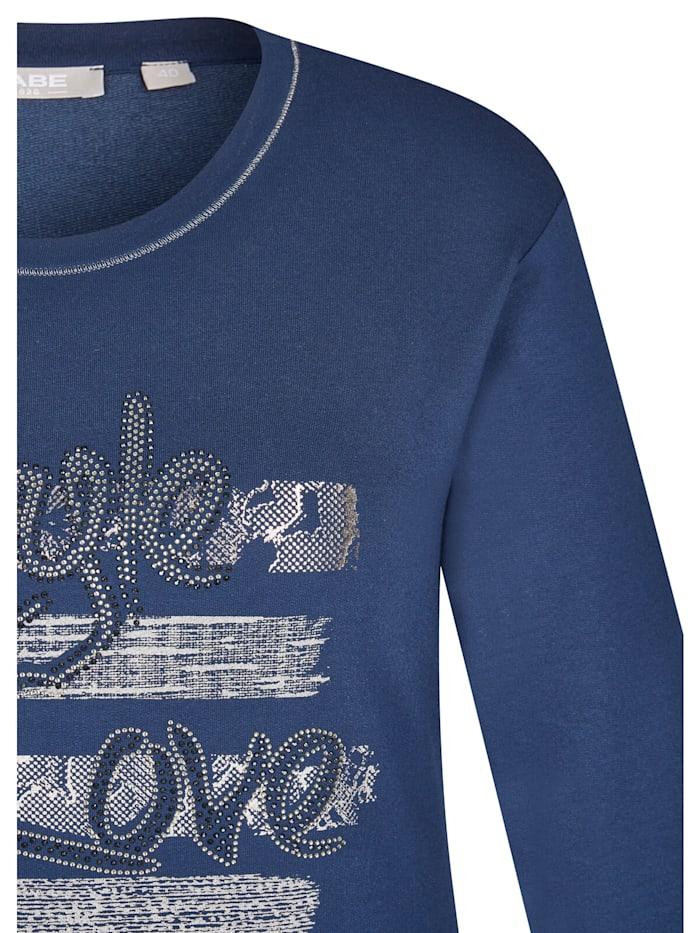 Shirt mit Kontrastnähten und Zierperlen