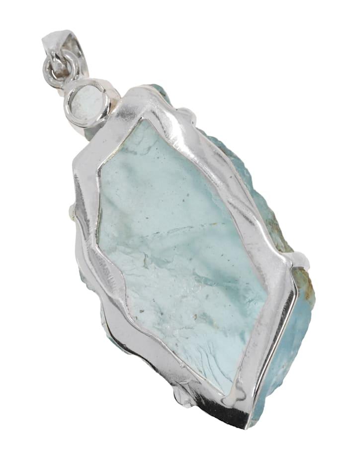 Damen Schmuck Edelstein Aquamarin Anhänger 925 Silber Blaugrüntöne
