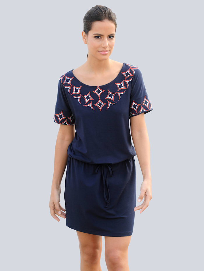 Alba Moda Strandkleid mit dekorativer Stickerei, Marineblau