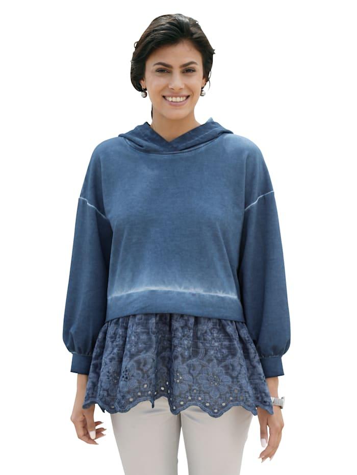 AMY VERMONT Shirt met blouse-inzet van kant, Blauw