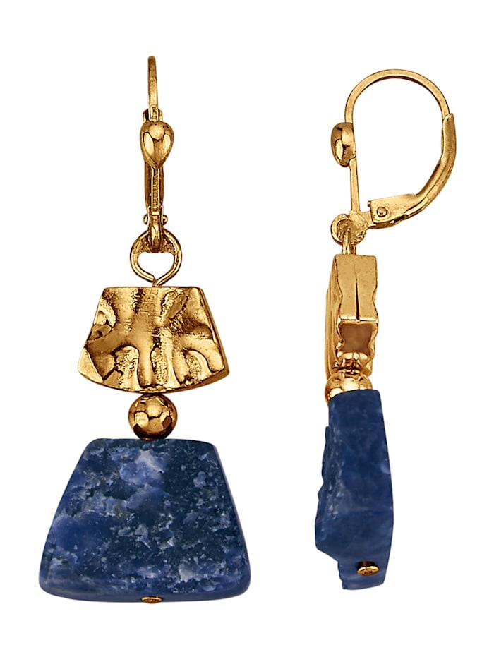 Diemer Farbstein Ohrringe mit Sodalithen, Blau