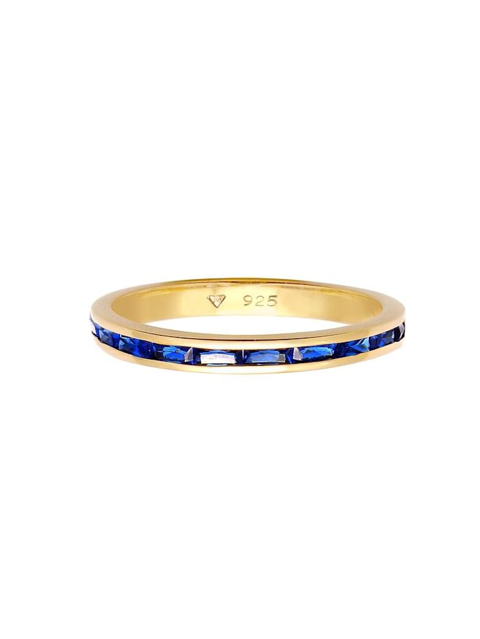 Ring Bandring Memoire Synthetischer Saphir 925 Silber