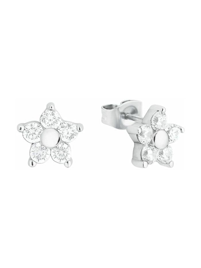 amor Ohrstecker für Damen, Sterling Silber 925, Zirkonia Blume, Silber