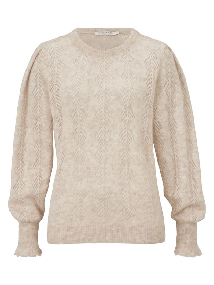 summum Pullover mit Lochstrickmuster, Creme-Weiß
