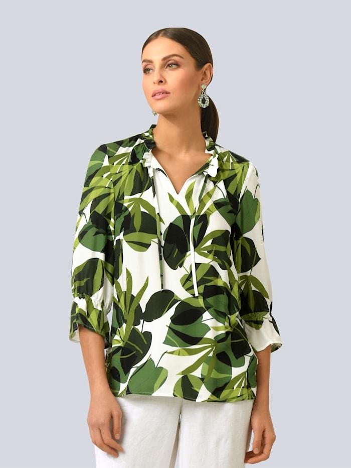 Alba Moda Bluse im Blätterdessin, Weiß/Grün
